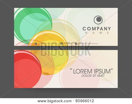 Business headers with Company's name and contact details on abstract background.