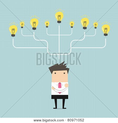 Businessman many idea to success concept