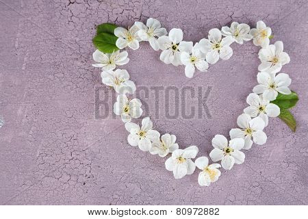 Beautiful cherry blossom on wooden background