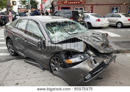Car Wreck In Queens New York