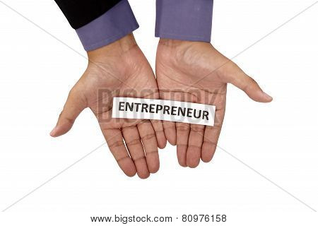 Hand Holding Paper With Entrepreneur Text