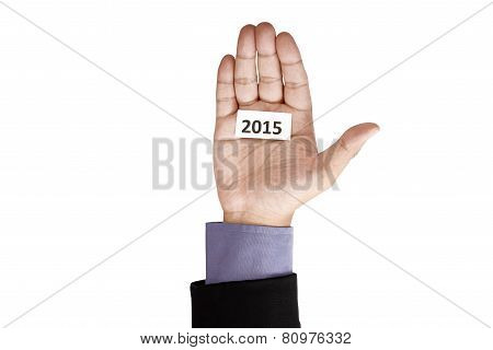Hand Holding Paper With 2015 Text