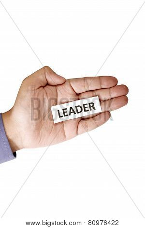 Hand Holding Paper With Leader Text