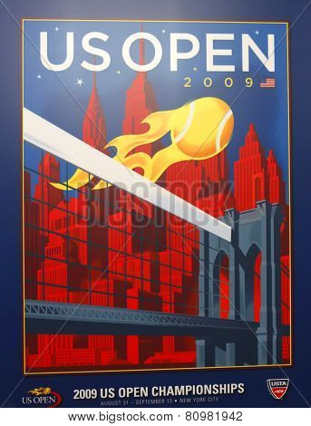 US Open 2009 poster on display at the Billie Jean King National Tennis Center in New York