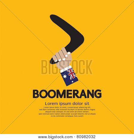 Hand Holding A Boomerang.