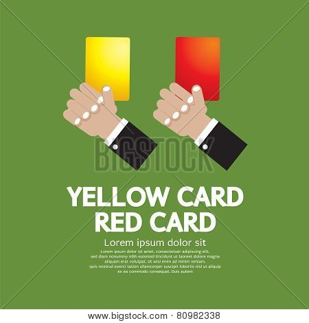 Hand Holding Red Card and Yellow Card.