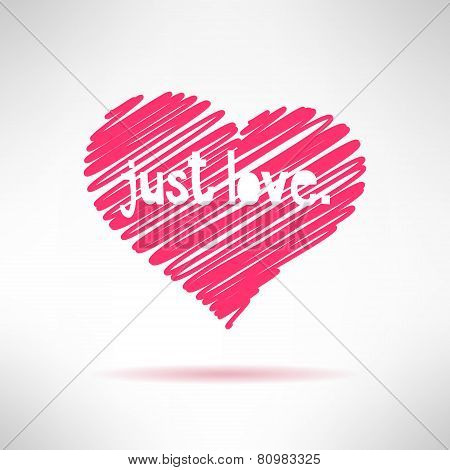 Hand written with pencil simple childish heart. Pictured love concept. Vector illustration