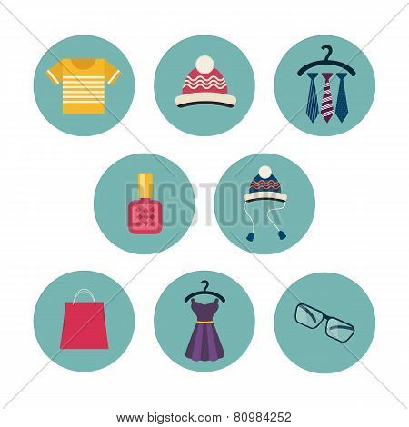Series of eight flat icons the clothes and accessories