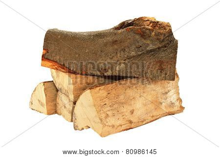 Stack Of Fire Wood Over White