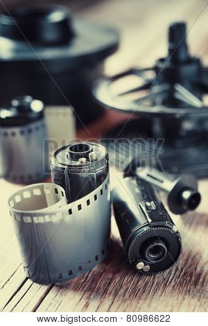 Old Photo Film Rolls, Cassette And Photographic Equipment. Vintage Stylized.