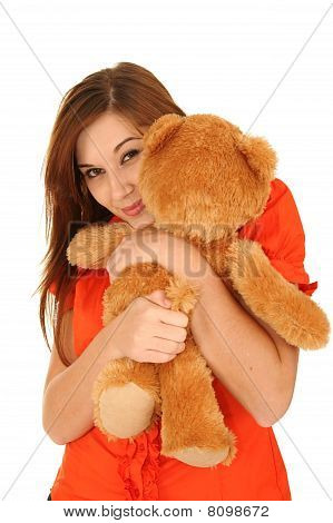 Gorgeous Woman With Toy Animal