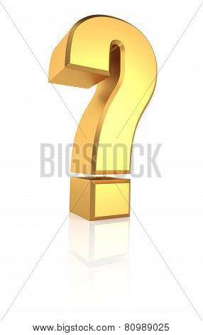 3D Gold Question Sign