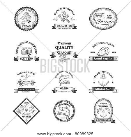 Seafood Retro Emblems