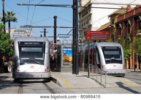 Modern trams, Seville.