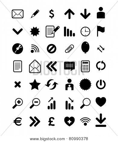 vector set of black web icons