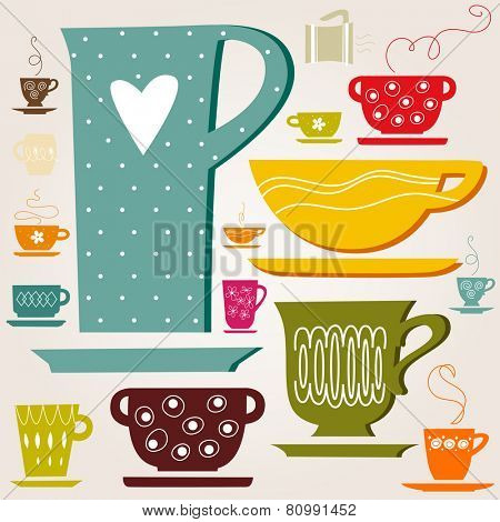 cup of tea or coffee. Pattern. Wallpaper. eps8