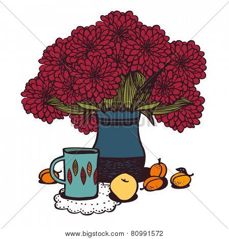 Stilllife with tea, apricot, apple and bouquet of chrysanthemums. eps8