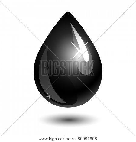 black drop of petroleum on white. eps10