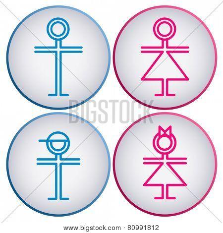 WC Sign. symbol of man, woman, boy, girl. eps8