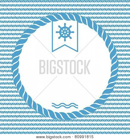 blue and white marine background with rope and steering wheel