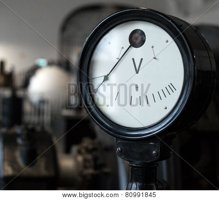 Vintage Voltmeter. Part Of Old Power Plant.