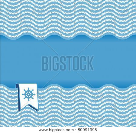 marine background with ropes and steering wheel