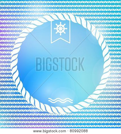 blue and white marine background with ropes and steering wheel. eps10