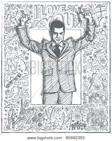 Love concept. Vector Sketch, comics style happy businessman with hands up, celebrating his victory, against background with love story elements