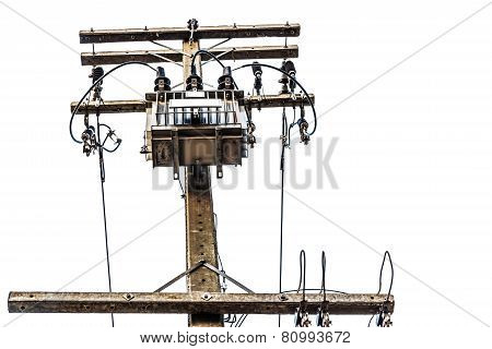 Transformers and electric poles isolated on white with clipping path
