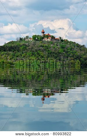 Castle on Hill With Water Refections