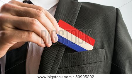 Wooden Card Painted As The Netherlands Flag