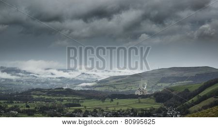 Misty Autumn Morning Landscape Of Derwent Valley From Mam Tor In Peak District