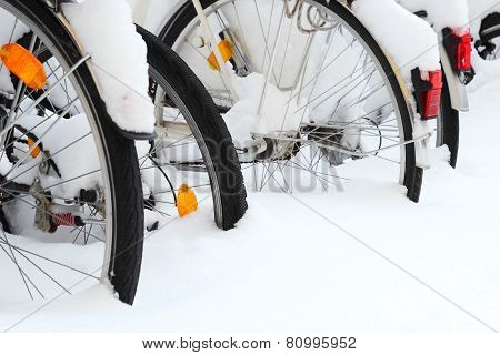 Bicycles Covered By Snow Only Tires