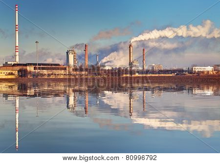 Air Pollution Coming From Factory Smoke Stacks