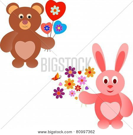 Isolted Pink Bunny and Brown Bear Vectors