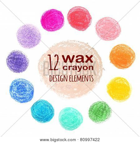 set of colored spots wax crayon