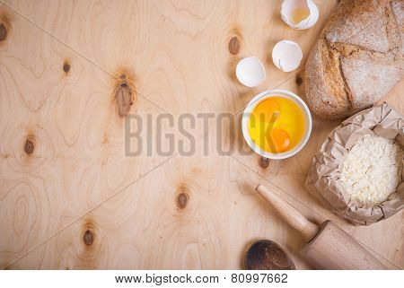 Baking Background With Bread, Eggshell, Flour, Rolling Pin