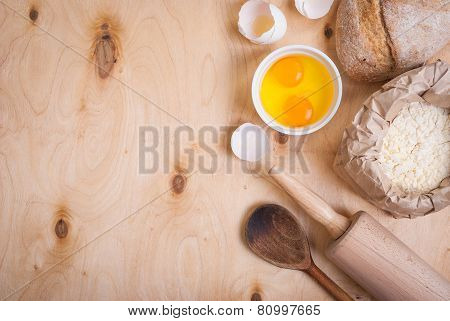 Baking Background With Bread, Eggshell, Flour, Rolling Pin. Close Up