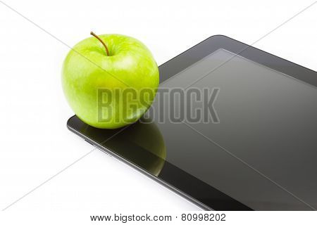 Green Apple On Digital Tablet Pc On White Background With Space For Text