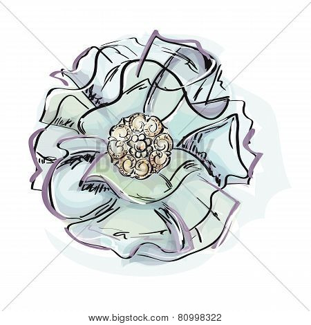 Illustration of fabric brooches and jewels