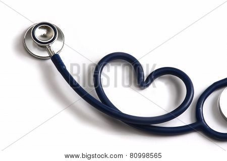 A blue statoscope in the shape of a heart on white isolated background