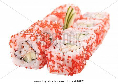 Japanese Sushi Rolls On White Background