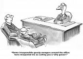 stock photo of apologize  - Cartoon of two businessmen sitting in front of their goose business leader apologizing for calling him a  - JPG