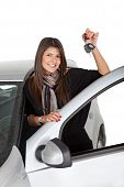 pic of car key  - Happy Woman With A Car isolated over white - JPG