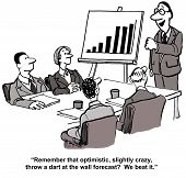 stock photo of leader  - Cartoon of business people in a meeting with leader standing by a chart showing increased sales and stating the team beat forecast - JPG