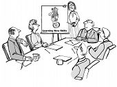 image of leader  - Cartoon of business people in a seminar meeting where the leader is encouraging them to learn new skills by showing a bear riding a unicycle - JPG