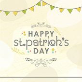 foto of saint patrick  - Elegant greeting card design with bunting decoration for Happy St - JPG