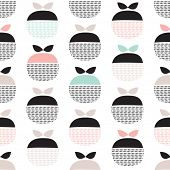stock photo of pastel  - Seamless retro pastel fruit illustration Scandinavian style apple pattern background in vector - JPG