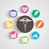 foto of medical equipment  - Illustration of medical equipments with symbol in center - JPG