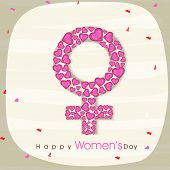 stock photo of special day  - Pink hearts decorated female symbol for International Women - JPG
